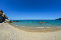 Fava beach very popular on sithonia greece Royalty Free Stock Image