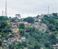 Favelas in the harbour of santos Stock Photo