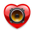 Favorite music icon red glossy heart with loudspeaker as favourite Stock Photo