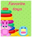 Favorite Plastic Toys Colorful Poster on Green Royalty Free Stock Photo
