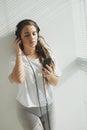Favorite song teenage girl in headphones enjoying her Royalty Free Stock Photos