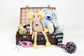 Favorite toys in an old suitcase Royalty Free Stock Photo