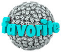Favorite word hashtag tag sphere best trend topic on a ball or of hash symbols to illustrate a popular or meme on the internet or Royalty Free Stock Photos