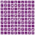 100 favorite work icons set grunge purple Royalty Free Stock Photo