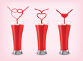 Favors juice with love straw juice vector and cliparts