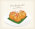 Favors and tasty takoyaki vector for giving