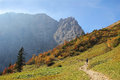 Favourite hiking area in the karwendel alps austria mountaineer at a Royalty Free Stock Photo