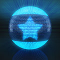 Favourite symbol on globe formed by binary code d render Stock Photo