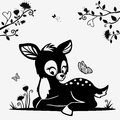 Fawn silhouette of a cute black and white character Royalty Free Stock Photo