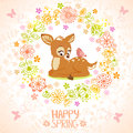 Fawn stylish card with beautiful cartoon and bird in floral frame Stock Photos