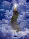 Fay Candle in clouds Royalty Free Stock Photography