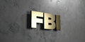 Fbi - Gold sign mounted on glossy marble wall - 3D rendered royalty free stock illustration