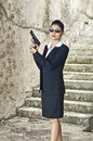 Fbi woman agent in action Royalty Free Stock Photos