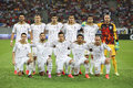 Fc aktobe line up s pictured before the qualification match for champions league groups against steaua bucharest anderson Royalty Free Stock Images