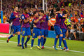 FC Barcelona goal celebration Royalty Free Stock Images