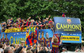 FC Barcelona players Bus Royalty Free Stock Photography