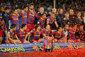 FC Barcelona's players celebrate La Liga Stock Photography