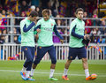 Fc barcelona training session team in open doors at miniestadi stadium where spectators came to enjoy for barca cracks in the Stock Photos