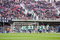 Fc barcelona training session team in open doors at miniestadi stadium where spectators came to enjoy for barca cracks in the Stock Images