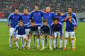 Fc basel line up basels pictured before the uefa champions league group e game between steaua bucharest and on national arena Stock Photography