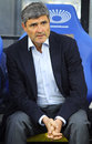 Fc dnipro manager juande ramos kyiv ukraine april looks on during ukraine championship game against dynamo kyiv at nsc Royalty Free Stock Photos