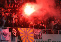 FC Dynamo Kyiv ultra supporters burn flares Royalty Free Stock Images