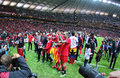 FC Sevilla players celebrate after winning UEFA Europa League Tr Royalty Free Stock Photo