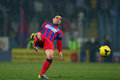 Fc steaua bucharest fc dinamo bucharest adi popa stopping the ball during the football match counting for the romanian league one Royalty Free Stock Photos