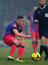Fc steaua bucharest fc dinamo bucharest alexandru chipciu following the ball during the football match counting for the romanian Royalty Free Stock Photos