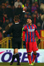 Fc steaua bucharest fc dinamo bucharest federicco piovaccari receives the yellow card during the football match counting for the Stock Photos