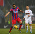 Fc steaua bucharest fc dinamo bucharest lucian sinmirtean sanmartean following the ball during the football match counting for the Stock Image