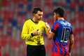 Fc steaua bucharest u cluj cristian tanase injured talking with ovidiu hategan during the football match counting for the romanian Stock Images