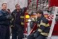 FDNY firefighters on duty, New York City, USA Royalty Free Stock Photo
