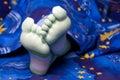 Füße in den lustigen gestreiften Socken Lizenzfreie Stockfotos
