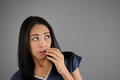 Fear asian woman shock and Royalty Free Stock Photo