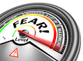Fear conceptual meter indicate maximum isolated on white background Stock Photo