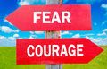 Fear and courage way choice showing strategy change or dilemmas Stock Photo
