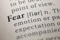 Fear dictionary definition of the word Stock Photos