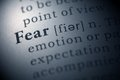 Fear dictionary definition of the word Stock Images