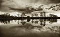 Fear lake landscape with cloud reflections Royalty Free Stock Photo