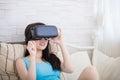 Fear woman watching virtual reality