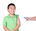 A fearful boy wearing green t shirt be afraid syringe isolated Royalty Free Stock Photography