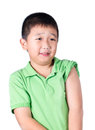 A fearful boy wearing green t shirt look at his left side isolated Stock Photo