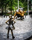 Fearless Girl and Charging Bull Royalty Free Stock Photo
