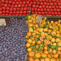 A feast of fruits and vegetables for sale Stock Images
