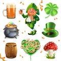 Feast of Saint Patrick. Vector icon set