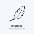 Feather flat line icon. Vector sign for soft, lightweight matherial property Royalty Free Stock Photo