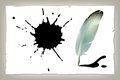 Feather ink pen vector drawing quill calligraphy tool with splatter Stock Photos