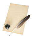 Feather, ink and sheet of old paper Royalty Free Stock Images