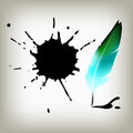 Feather pen vector drawing quill calligraphy tool with ink splatter Stock Image